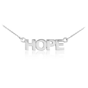 """14k Solid White Gold """"HOPE"""" Script Necklace"""