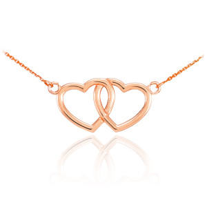 14K Rose Gold Double Heart Necklace