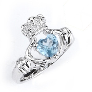 Sterling Silver December Birthstone Claddagh Ring