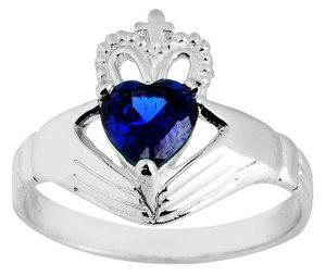 Silver Claddagh Ladies Ring with Saphire
