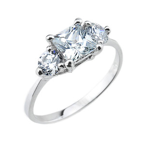 Gold 3 Stone Cubic Zirconia Engagement Ring