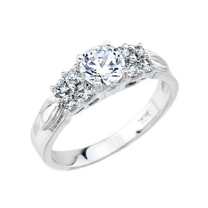 White Gold Classic Round C.Z. Engagement Ring