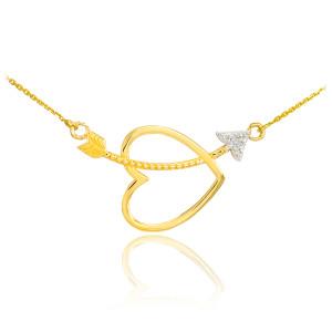 14K Gold Heart & Arrow Diamond Necklace