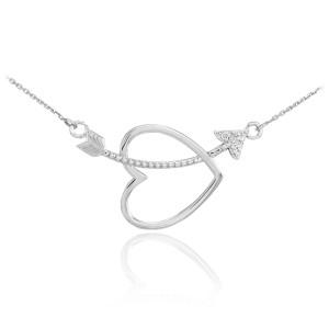 14K White Gold Heart & Arrow Diamond Necklace