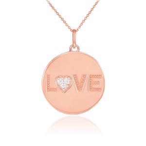 "14K Rose Gold ""LOVE"" Script Diamond Disc Pendant Necklace"