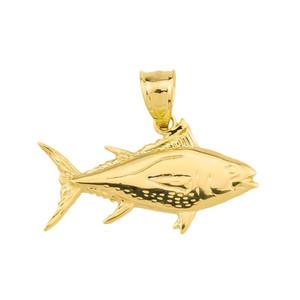 Yellow Gold Yellowfin Tuna Fish Pendant2