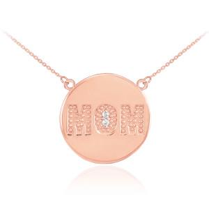 "14K Rose Gold ""MOM"" Script Diamond Disc Necklace"
