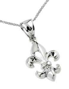 Sterling Silver Fleur-de-Lis Pendant Necklace