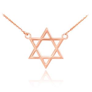 14K Rose Gold Star of David Necklace
