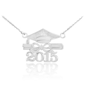 """Sterling Silver """"CLASS OF 2015"""" Graduation Pendant Necklace"""
