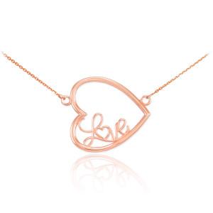 """14K Rose Gold Sideways Open Heart """"Love"""" Script Necklace"""