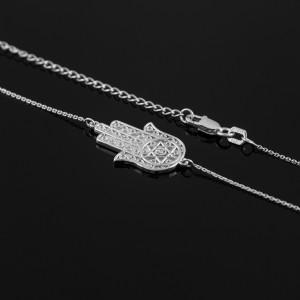Sterling Silver Sideways Hamsa CZ Necklace