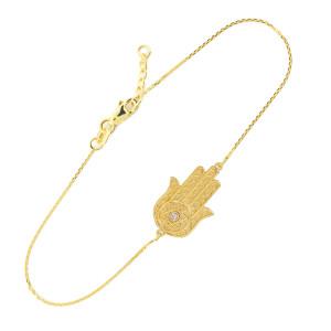 14K Solid Gold Hamsa Diamond Bracelet