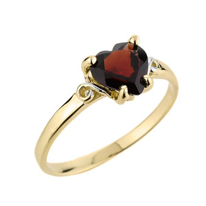 Ladies Heart Shaped Garnet Ring in Yellow Gold
