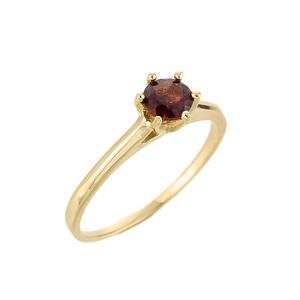 10k Gold Ladies Garnet Gemstone Solitaire Ring