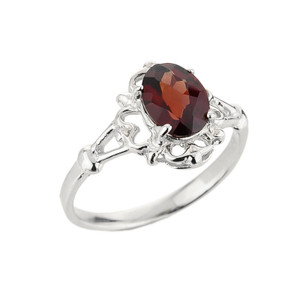 10k White Gold Ladies Oval Shaped Garnet Gemstone Ring