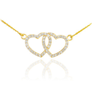 14K Gold CZ Studded Double Heart Necklace