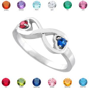 White Gold Birthstone CZ Infinity Ring