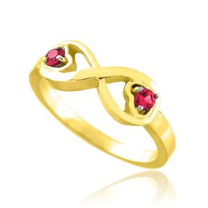 Gold Birthstone CZ Infinity Ring