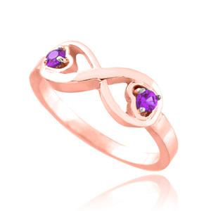 Rose Gold Birthstone CZ Infinity Ring