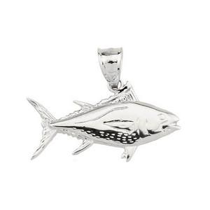 Silver Fish Charm Tuna Pendant