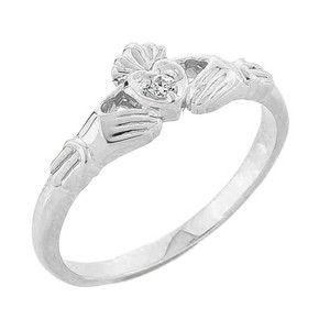 White Gold Diamond Claddagh Promise Ring
