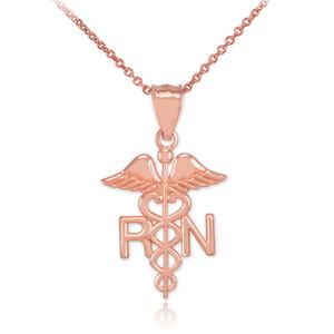 Rose Gold Registered Nurse RN Medical Pendant Necklace