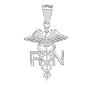 Sterling Silver Registered Nurse RN Medical Pendant Necklace