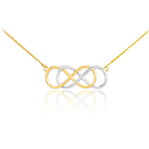 14K Two-Tone Gold Double Knot Infinity Necklace