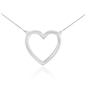 14K Polished White Gold Open Heart Necklace