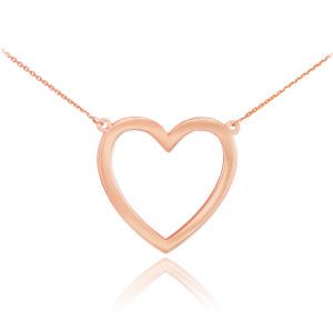 14K Polished Rose Gold Open Heart Necklace