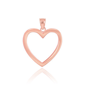 Polished Rose Gold Open Heart Pendant Necklace