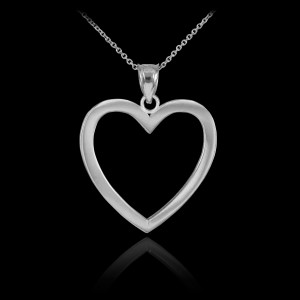 925 Sterling Silver Open Heart Pendant Necklace