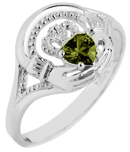 Silver Claddagh Ring with Emerald