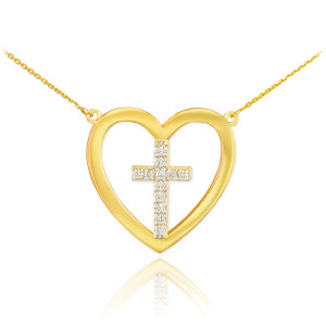 14K Gold Open Heart Diamond Cross Necklace