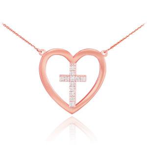 14K Rose Gold Open Heart Diamond Cross Necklace