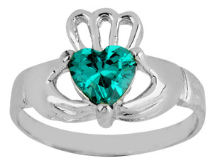 Silver Claddagh Baby Ring with Emerald