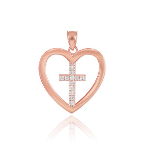 Rose Gold Open Heart Diamond Cross Pendant Necklace