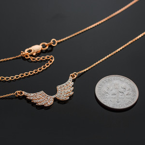 14K Rose Gold Diamond Studded Angel Wings Necklace (0.50ctw)