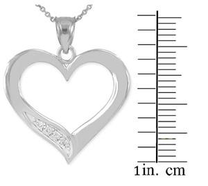Sterling Silver Open Heart CZ Pendant Necklace