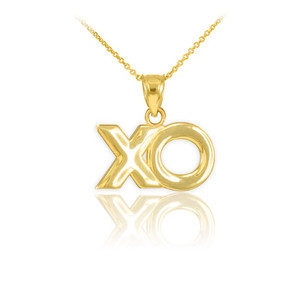"Polished Gold ""XO"" Hugs & Kisses Pendant Necklace"