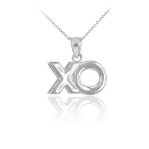"White Gold ""XO"" Hugs & Kisses Pendant Necklace"