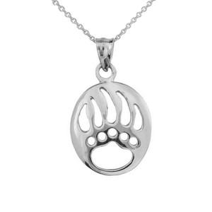 925 Sterling Silver Openwork Animal Spirit Charm Bear Paw Print Pendant