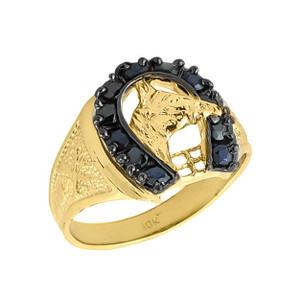 Solid Gold Men's Black Onyx Horseshoe Ring