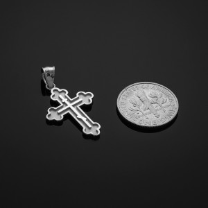 Solid White Gold Eastern Orthodox Cross Charm Pendant Necklace