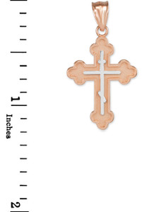 Two-Tone Rose Gold Eastern Orthodox Cross Charm Necklace