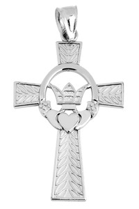 Silver Claddagh Irish Cross Pendant Necklace