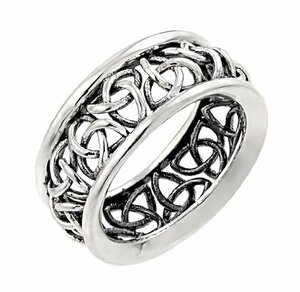 Sterling Silver Trinity Knot Band Celtic Wedding Ring