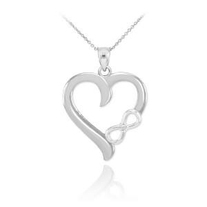 White Gold Infinity Heart Diamond Pendant Necklace