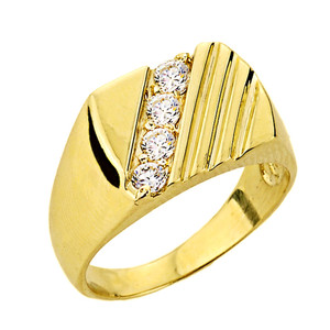 Channel Set Diamond Men's Ring in Yellow Gold